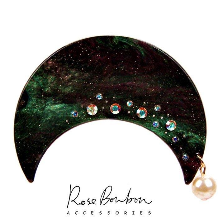Rose Bonbon【日本原創R品牌大理石彈簧髮夾石原里美醋酸板材日本人氣唯美宇宙珍珠水鑽月亮髮夾髮飾】頭飾日本帶回