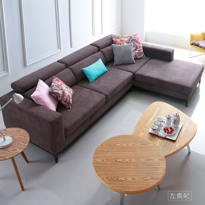 L型沙發【UHO】幸福節奏L型棉麻布沙發(可分左右貴妃) 免運費 HO18-352-1-2