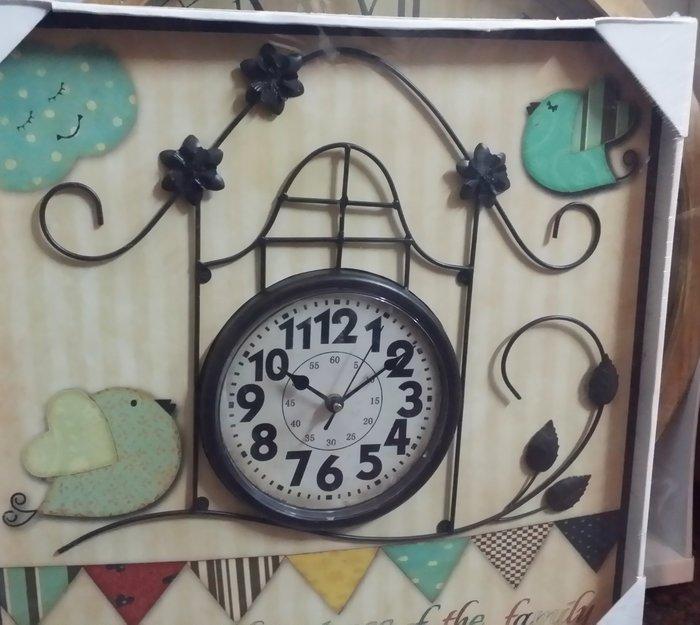 OUTLET  美式復古工業風鄉村風LOFT金屬 木頭立體房屋時鐘掛鐘壁鐘壁掛飾 婚紗攝影