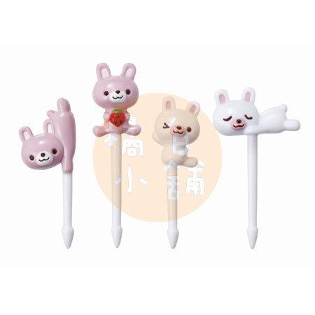 【橘白小舖】日本進口 m'sa 正版 小兔子 兔子 小白兔 動物 食物叉 8支 水果叉 三明治叉 點心叉 叉子 叉 裝飾