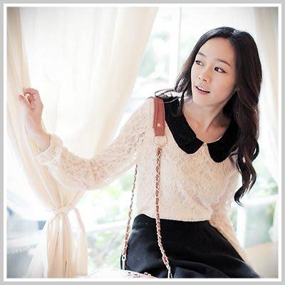 韓版 優雅女伶黑色圓領蕾絲上衣【U450】☆雙兒網☆ Pure girl