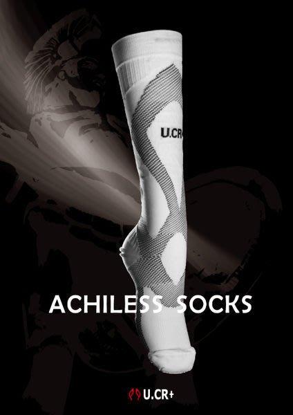 「喜樂屋戶外」U.CR+ 阿基里斯機能襪 運動襪 透氣 快乾 白/黑長襪台灣製