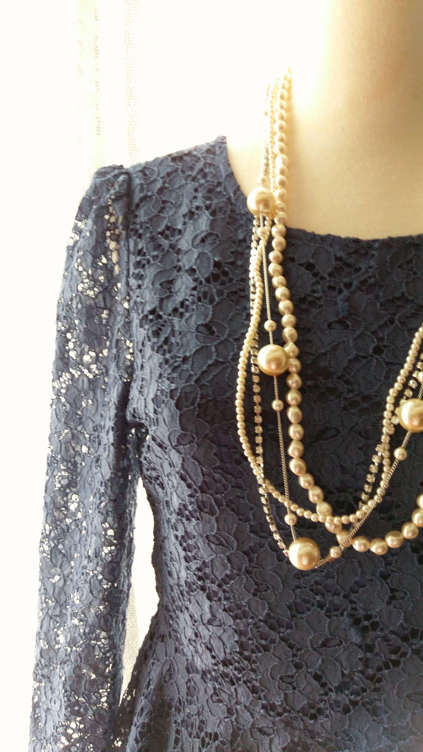 顏金佩專櫃 歐風 優雅氣質深藍 網紗緹花布 蕾絲洋裝