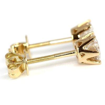 耳環每耳一克拉摩星鑽共2克拉超白D色等級6爪螺絲釘耳針加耳座白14K(特價19500元) 可分期附鉑金卡莫桑鑽寶歡迎訂做