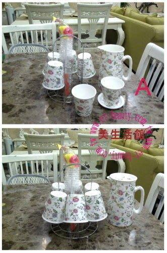 美生活館---全新進口骨瓷 花朵 茶杯/咖啡杯/水杯 杯組禮盒(一壺六杯附架附刷)--四花色可選