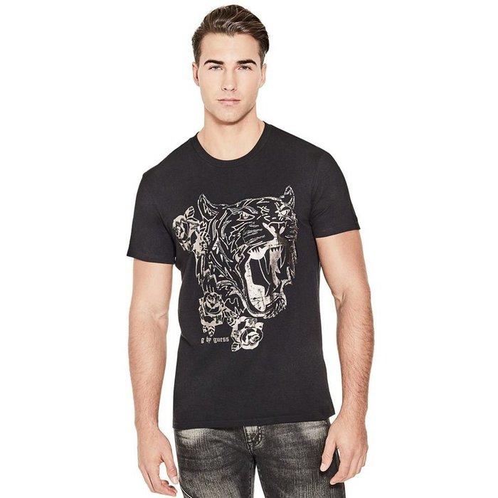 美國百分百【全新真品】Guess T恤 T-shirt 短袖 短T logo 上衣 燙金 虎頭 黑色 XS-L I561