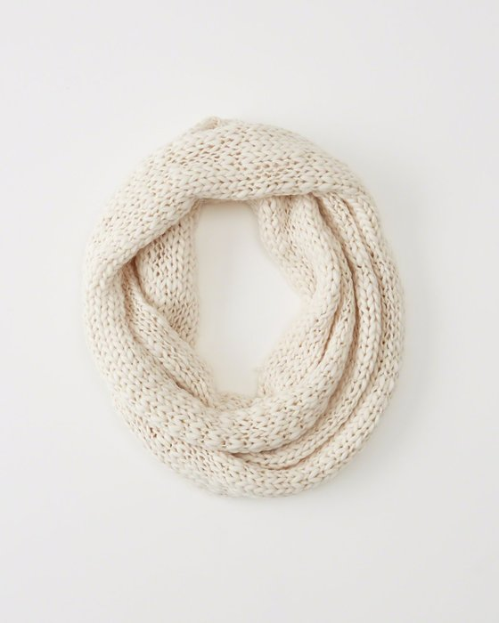 天普小棧【980含運】Abercrombie&Fitch A&F Knit Infinity Scarf乳白圍脖圍巾脖圍