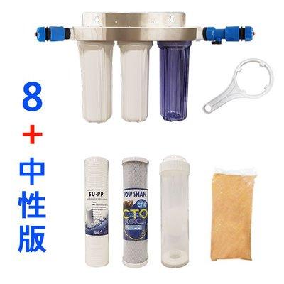 【清淨淨水店】中性版白鐵吊片三胞胎/304材質不生鏽耐用型含濾心/快速接頭組合(8+C組合)/扳手1030元。