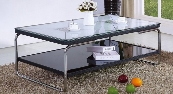 【DH】商品貨號n823-3名稱《雙傑》3.6尺黑色大茶几10MM強化烤漆玻璃。簡約雅緻經典設計