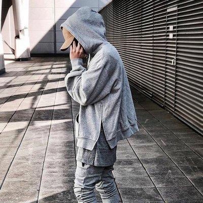 美式 街头 简约 素面 纯棉 加绒 插肩袖 OVERSIZE 宽松 加大尺码 半拉鍊 套头 侧开岔 连帽 外套 帽T
