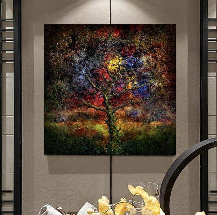 現代客廳臥室餐廳掛畫壁畫無框畫裝飾畫三聯畫抽象藝術樹(3款可選)