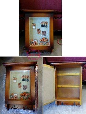 美生活館--全新 田園 鄉村 ZAKKA 實木 立體雕刻 KEY BOX ( C) 掛勾 鑰匙盒/收納盒--入宅新居賀禮