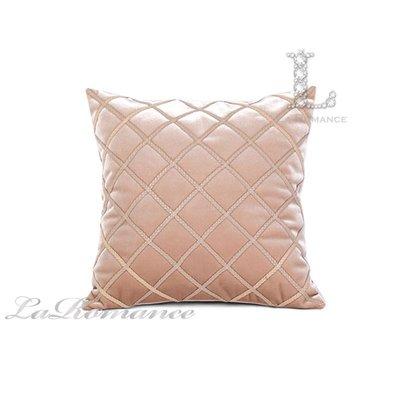 【芮洛蔓 La Romance】古典風情系列米色皮製飾條菱格抱枕 / 靠枕 / 靠墊 / 方枕