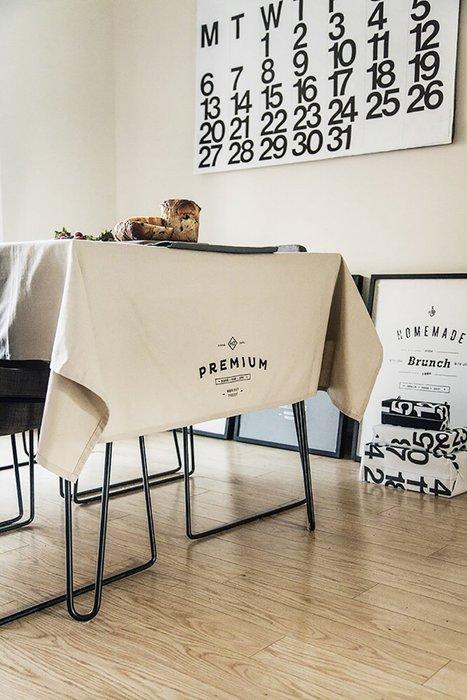 - Meiprunus -原創 設計 北歐 歐美 英文 米色 棉麻 餐桌布 桌巾 沙發布(M)136cm*220cm