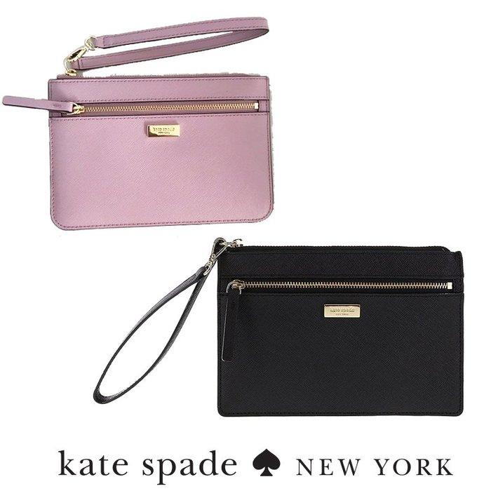 全新新款 KATE SPADE 氣質簡約素面皮革 手掛式手拿中/零錢袋 二種顏色WLRU2677↗小夫妻精品嚴選↖