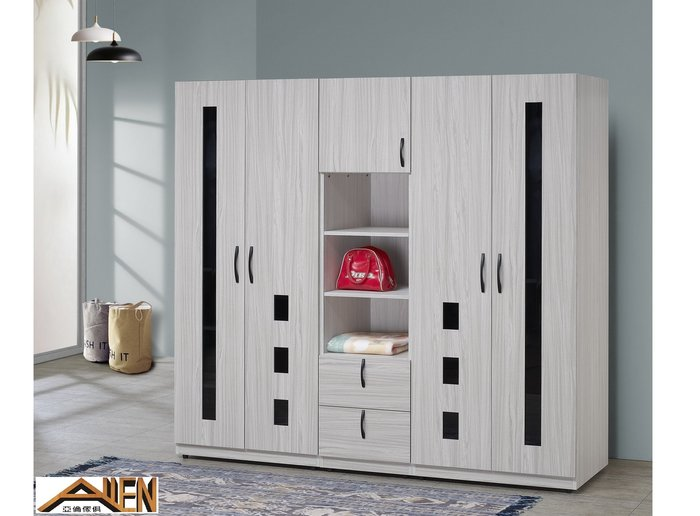 亞倫傢俱*布爾耐磨木紋6.5尺系統衣櫥 (黑玻璃)