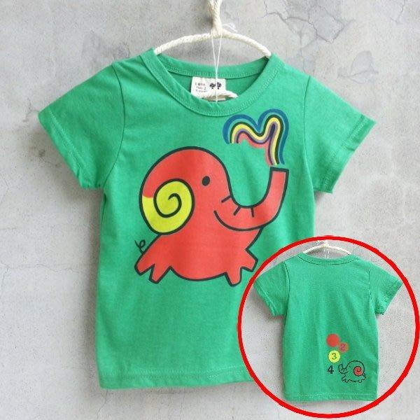 【韓國空運正韓童裝】正韓--Q版噴水大象T恤上衣--綠色