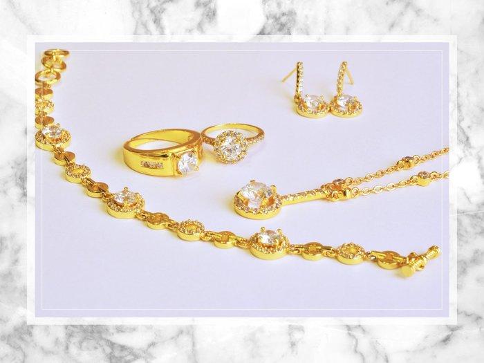 黛恩&聖蘿蘭珠寶 設計師款24k黃金色時尚華麗結婚套組 訂婚求婚紗婚禮婚戒婚宴婚禮拍攝純金鑽戒求婚戒結婚戒婚禮小物