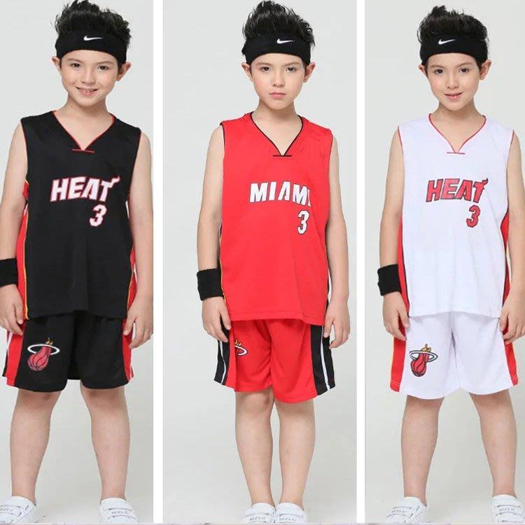 熱火隊 3號兒童籃球服 套裝 運動表演服 寶寶背心 演出服 籃球衣