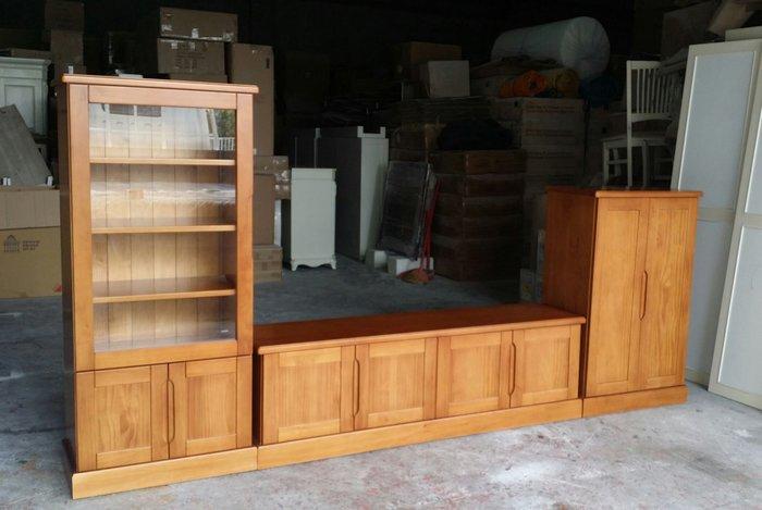 美生活館--鄉村家具訂製 紐松全原木柚木色 客廳高低櫃(寬296公分) 組合櫃 電視櫃 收納櫃可拆買也可修改尺寸與顏色
