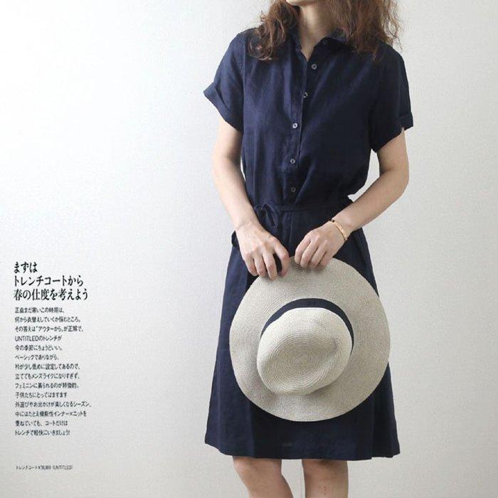 【四季衣著】韓國百搭氣質顯瘦亞麻純色繫帶收腰短袖連衣裙洋裝。全館免運