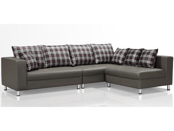 【DH】貨號N177-2名稱《勒泰》深灰色皮L型沙發組(圖一)寬264CM.輔助椅可左右擺飾.台灣製可訂做主要地區免運費