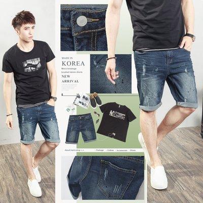 。SW。【K91536】正韓PE 韓國製 修身 抽鬚潑墨感 彈性佳 觸感舒適 深藍刷色 挺實彈性單寧牛仔短褲 GD