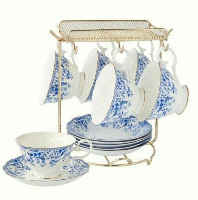 英式青花瓷咖啡杯花茶杯骨瓷六杯六盤+杯架收納架【 蘇菲亞精品傢飾】