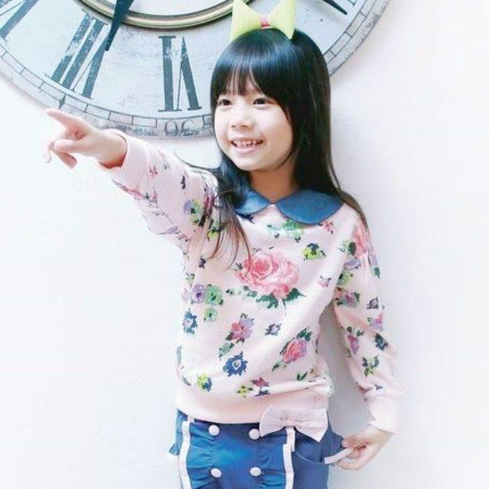 【班比納精品童裝】牛仔娃娃領花卉上衣-粉【BD140905012】