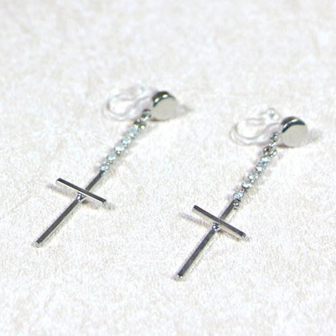 浪漫派飾品 G694-@ 信仰 十字架 兩色可選 夾式耳環 矽膠耳環 無耳洞專用