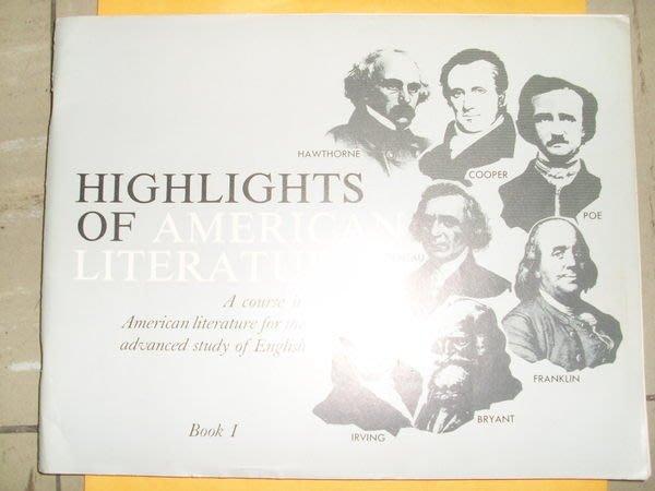 憶難忘書室☆早期發行-----HIGHLIGHTS OF AMERICAN LITERATURE BOOK1(原文書)共1本