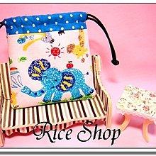 R.S手作  拼布~ 款~訂做挑布~可愛塗鴉大象 束口袋 萬用包 收納袋 #小 10~1
