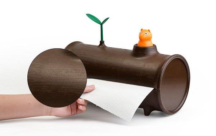 優可誘果家飾-泰國QUALY 設計師創作 樹葉松鼠 捲筒衛生紙盒 擦手巾 紙巾盒 紙巾圓筒 面紙盒