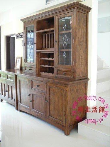 美生活館---全實木鄉村家具--碗盤櫃/餐櫃--超厚實木復古破壞處理