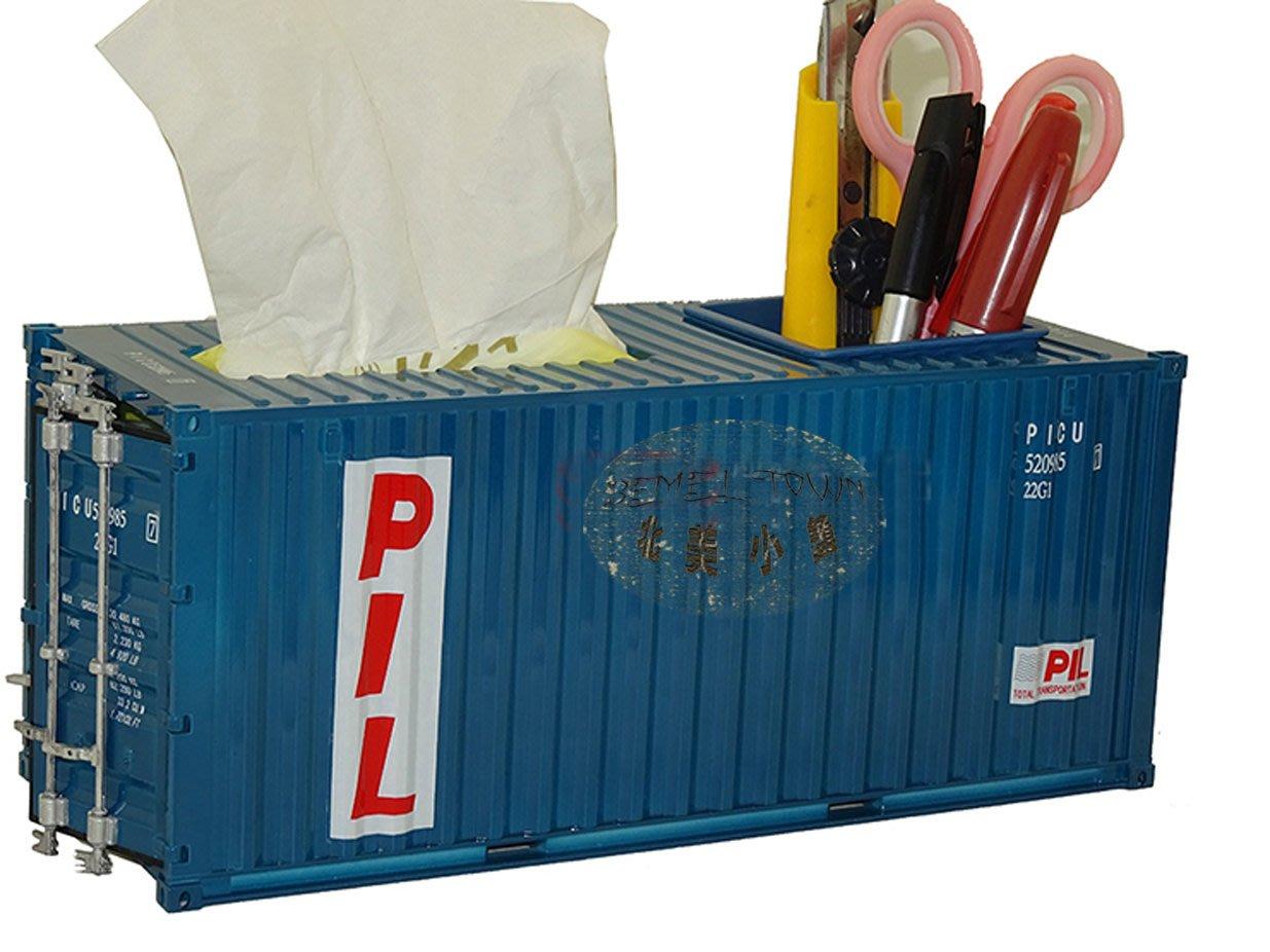 * 北美小鎮 * 可客製LOGO 貨櫃 面紙盒 抽紙盒 LOFT 工業 貨櫃屋 仿真 20呎