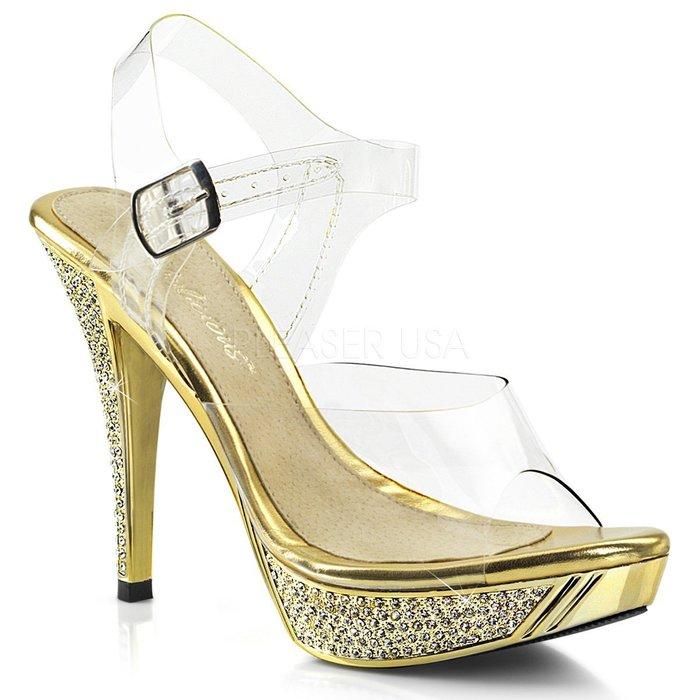 Shoes InStyle《四吋》美國品牌 FABULICIOUS 原廠正品水鑚透明金屬鍍鉻高跟涼鞋 『金色』