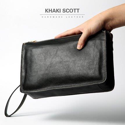 英國名牌 khaki scott  原創手工男士頭層牛皮手拿包休閒商務真皮手機包大容量隨身包