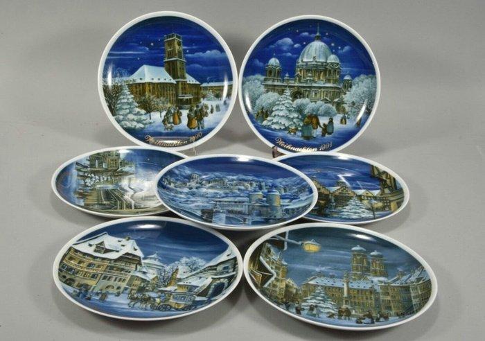 【波賽頓-歐洲古董拍賣】歐洲/西洋 德國早期 德國皇家Tettau手工彩繪瓷盤一組共7個(年份:1984~1991年)(直徑:20cm)(德國製造)