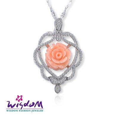 天然海洋紅珊瑚 浪漫粉紅玫瑰墜飾(不含鍊)情人節/母親節/生日 送禮/自用 威世登時尚珠寶