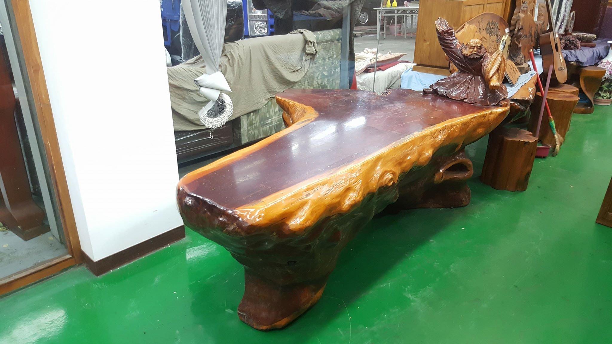 宏品二手家具台中 全新中古傢俱家電拍賣 LG61003*原木一體成形紅豆杉泡茶桌 茶几*客廳沙發桌椅 戶外休閒桌椅 餐桌