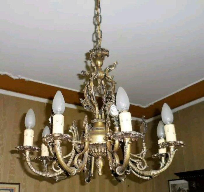 【波賽頓-歐洲古董拍賣】歐洲/西洋古董 意大利古董 陶瓷彩繪花朵黃銅吊燈/燭台 8 燈(E14×8)(已售出)
