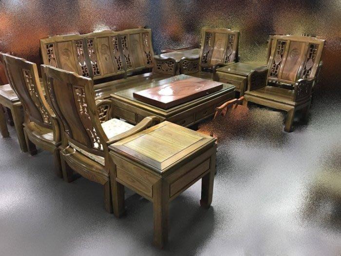 樂居二手家具 家電 全新中古傢俱 高級LG1109*紫檀木10件式組椅*木頭椅 木板椅 泡茶桌椅 古董家具 仿古家具