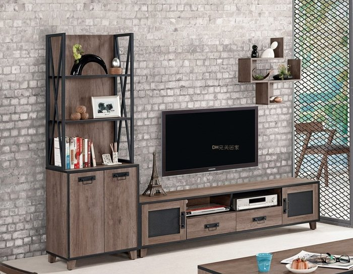 【DH】商品貨號G300商品名稱《德麥哈》8尺L型電視櫃(圖一)2尺展示櫃+6尺長櫃.台灣製可拆賣.主要地區免運費