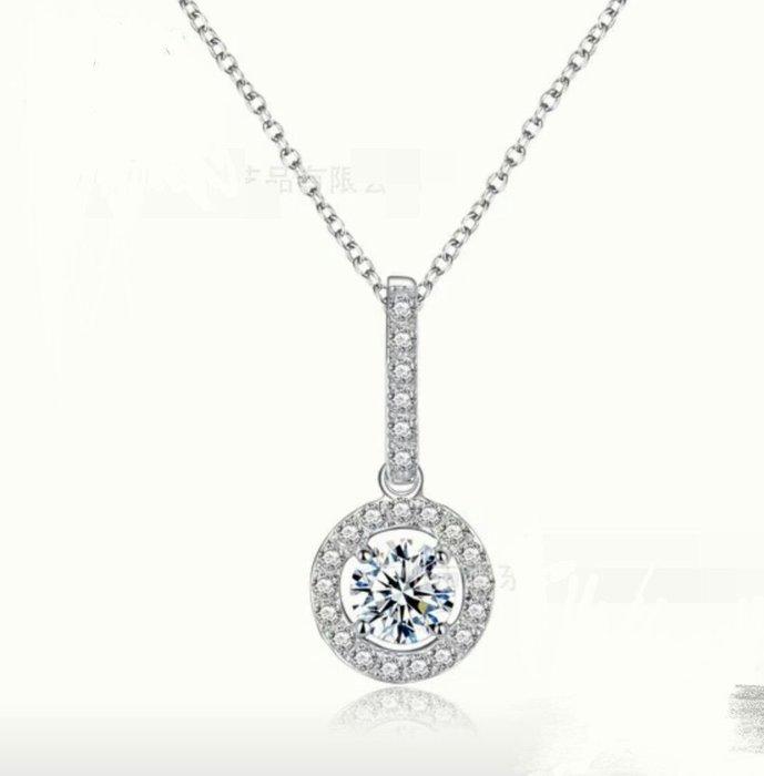 一克拉主鑽微鑲高碳鑽微鑲鑽墜鏈仿真鑽項鍊金剛火彩時尚款式ZB鑽寶