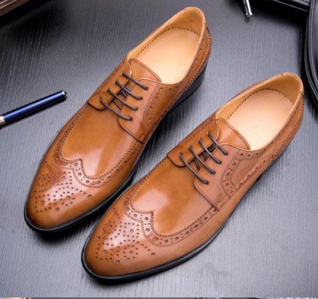 新款男士正裝商務皮鞋 尖頭系帶真皮皮鞋 英倫德比鞋雕花布洛克鞋