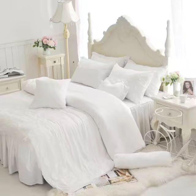 天絲床罩 標準雙人床罩 公主風床罩 綻放 白色 蕾絲床罩 結婚床罩 床裙組 荷葉邊 100%天絲 tencel 加大被套