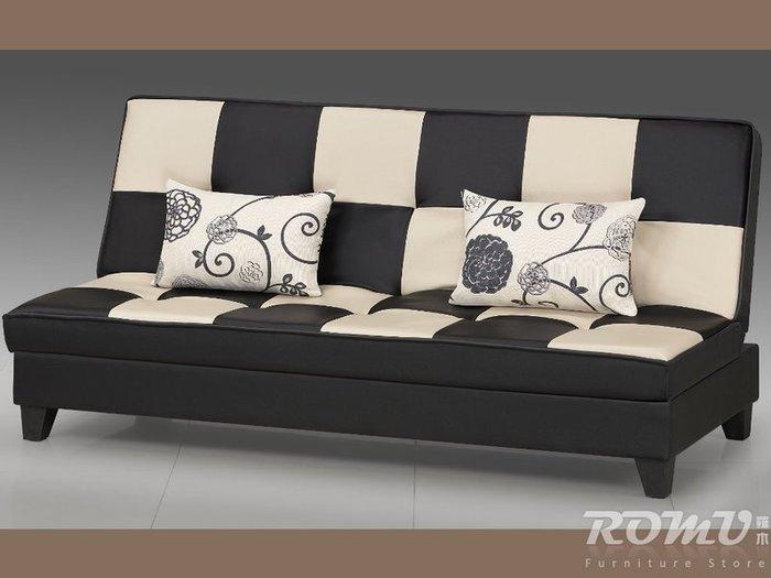 【DH】商品編號Q1007商品名稱方塊黑白造型雙人沙發床。優質細膩經典。主要地區免運費