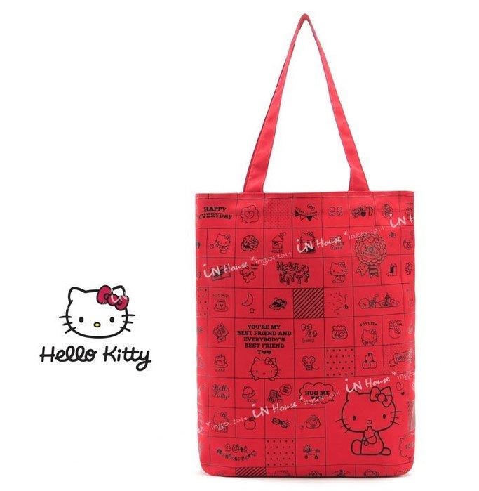 IN House~ 雜誌附錄贈品 可愛Hello Kitty 紅色印花 帆布包 手提袋 側