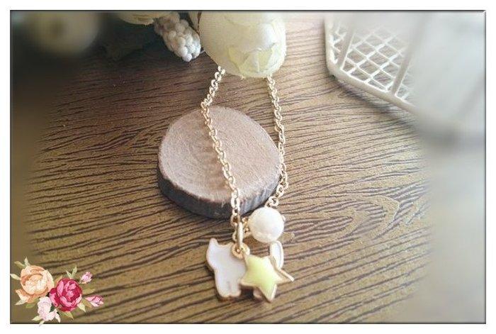 玫瑰森林- ☆甜美女孩 可愛 小小貓咪 五角星 珍珠 貓咪短款項鍊(白貓)