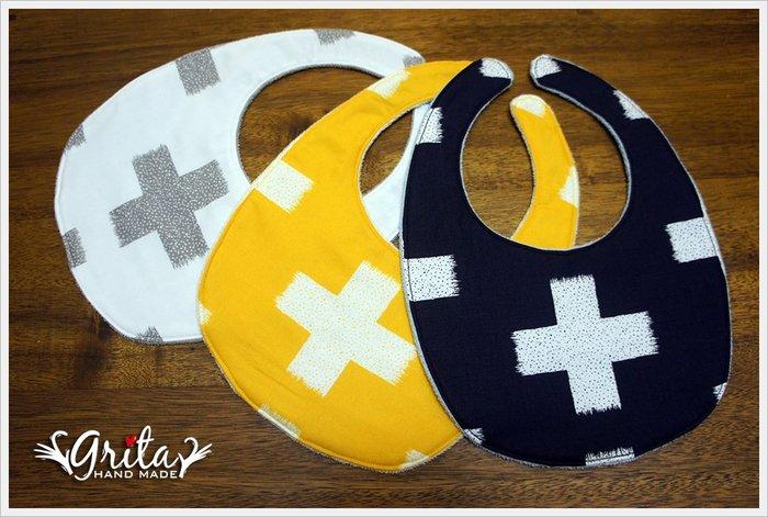 ♥grita's handmade♥純棉手作嬰幼兒圍兜兜/領巾/口水巾/三角巾/彌月禮—北歐風個性十字